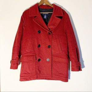 Lands End Wool Blend Peacoat Red 10/12